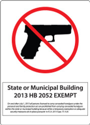 State or Municipal Building, 2013 HB 2052 Exempt, On and after July 1, 2013 all persons licensed to carry concealed handguns under the personal and family protection act are prohibited from carrying concealed handguns within this state or municipality building because either a temporary exemption or adequate security measures are in place pursuant to K.S.A. 2013 Supp. 75-7c20.