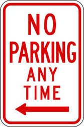 No Parking Anytime Left Arrow