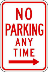 No Parking Anytime Right Arrow