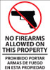 No Firearms Allowed On This Property Prohibido Portar Armas De Fuego En Propiedad