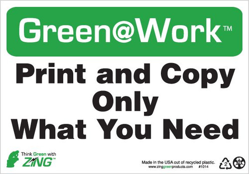 Green At Work Sign, 7X10