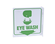 ZING 2519 Eco Safety L Sign, Eye Wash, 7Hx2.5Wx7D, Recycled Plastic