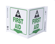ZING 2520 Eco Safety V Sign, First Aid, 7Hx12Wx5D, Recycled Plastic