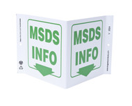 ZING 2524 Eco Safety V Sign, MSDS Info., 7Hx12Wx5D, Recycled Plastic