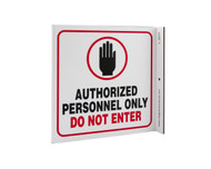 ZING 2577 Eco Safety L Sign, Authorized Personnel Only, 7Hx2.5Wx7D, Recycled Plastic