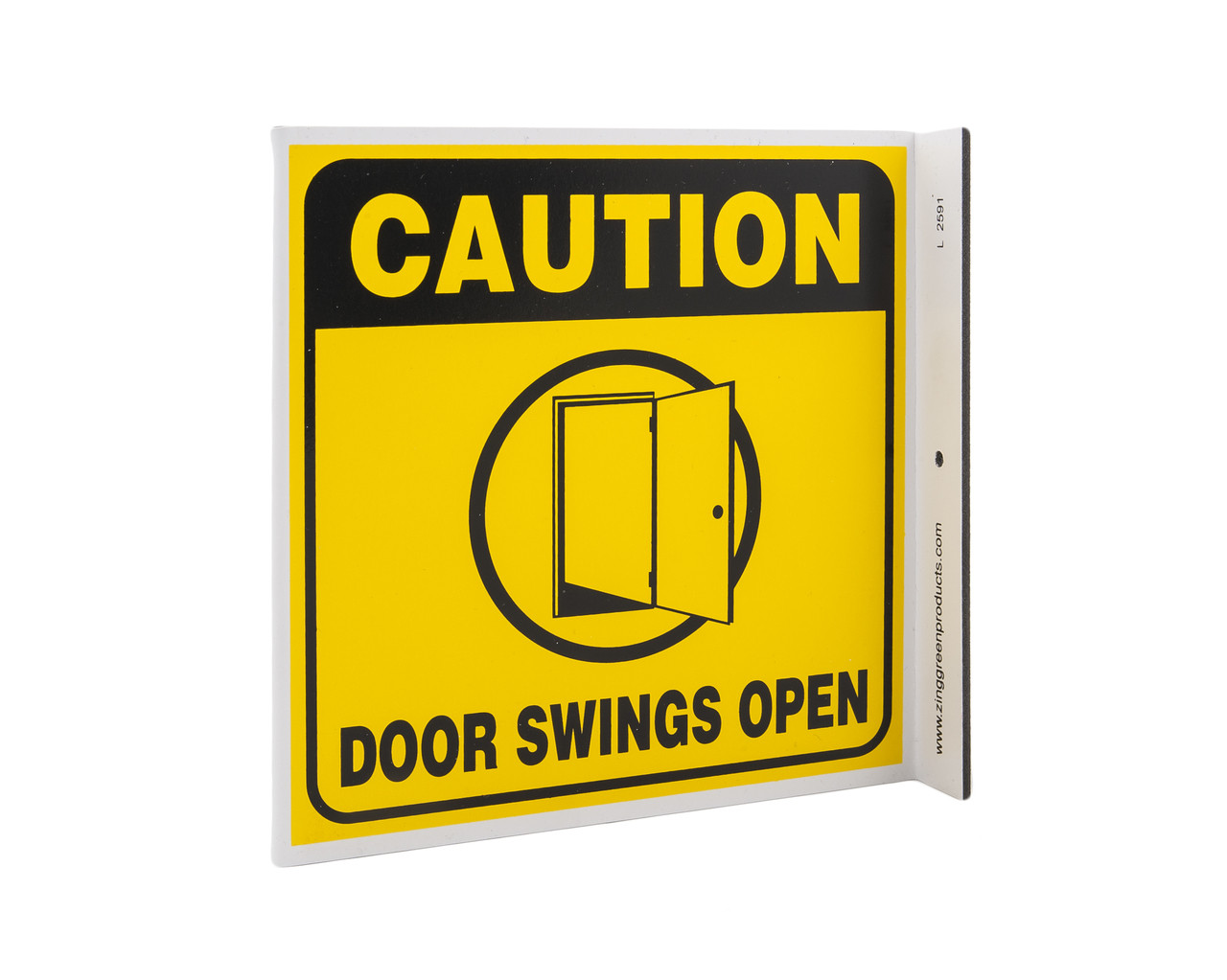 Zing 2591 Eco Safety L Sign Caution Door Swings Open 7hx2 5wx7d Recycled Plastic