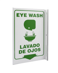 ZING 2617 Eco Safety L Sign, Eye Wash Bilingual, 11Hx2.5Wx8D, Recycled Plastic