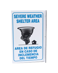 ZING 2625 Eco Safety L Sign, Severe Weather Bilingual, 11Hx2.5Wx8D, Recycled Plastic