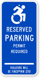 ZING 2683 Eco Parking Sign, Handicapped Parking Permit Required, Connecticut, 24Hx12W, Engineer Grade Prismatic, Recycled Aluminum