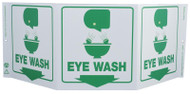 ZING 3054 Eco Safety Tri View Sign, Eye Wash, 7.5Hx20W, Projects 5 Inches, Recycled Plastic
