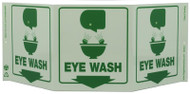 ZING 3054G Eco Safety Tri View Sign, Glow in the Dark, Eye Wash, 7.5Hx20W, Projects 5 Inches, Recycled Plastic