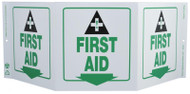 ZING 3056 Eco Safety Tri View Sign, First Aid, 7.5Hx20W, Projects 5 Inches, Recycled Plastic