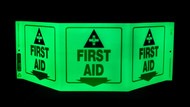ZING 3056G Eco Safety Tri View Sign, Glow in the Dark, First Aid, 7.5Hx20W, Projects 5 Inches, Recycled Plastic