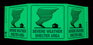 ZING 3057G Eco Safety Tri View Sign, Glow in the Dark, Severe Weather, 7.5Hx20W, Projects 5 Inches, Recycled Plastic