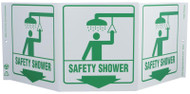 ZING 3059 Eco Safety Tri View Sign, Safety Shower, 7.5Hx20W, Projects 5 Inches, Recycled Plastic