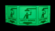 ZING 3059G Eco Safety Tri View Sign, Glow in the Dark, Safety Shower, 7.5Hx20W, Projects 5 Inches, Recycled Plastic