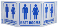 ZING 3060 Eco Public Facility Tri View Sign, Restrooms, 7.5Hx20W, Projects 5 Inches, Recycled Plastic