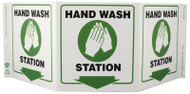ZING 3062 Eco Public Facility Tri View Sign, Hand Wash Station, 7.5Hx20W, Projects 5 Inches, Recycled Plastic