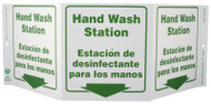 ZING 3063 Eco Public Facility Tri View Sign, Bilingual, Hand Wash Station, 7.5Hx20W, Projects 5 Inches, Recycled Plastic