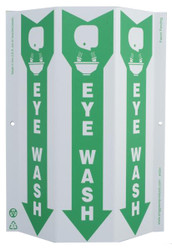 ZING 4054 Eco Safety Tri View Sign, Eye Wash, 12Hx9W, Projects 3 Inches, Recycled Plastic
