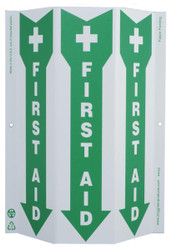 ZING 4056 Eco Safety Tri View Sign, First Aid, 12Hx9W, Projects 3 Inches, Recycled Plastic