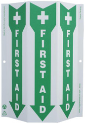 ZING 4056G Eco Safety Tri View Sign, Glow in the Dark, First Aid, 12Hx9W, Projects 3 Inches, Recycled Plastic