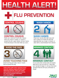 ZING 5011 Safety Eco Health Poster, Health Alert Flu Prevention, 22Hx16W