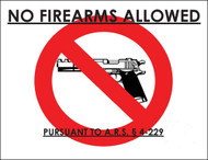 ZING Eco Safety Sign, No Firearms Allowed, Arizona, Available in Different Sizes and Materials