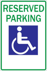 Reserved Handicapped Parking Sign, Recycled Aluminum