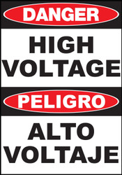 Zing English/Spanish Safety Sign, Danger High Voltage, Available in Different Sizes and Materials