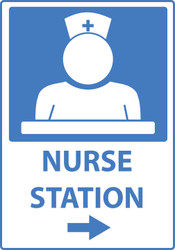 Zing Safety Sign, Nurse's Station, with Right Arrow, Available in Different Sizes and Materials