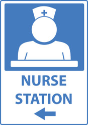 Zing Safety Sign, Nurse's Station, with Left Arrow, Available in Different Sizes and Materials