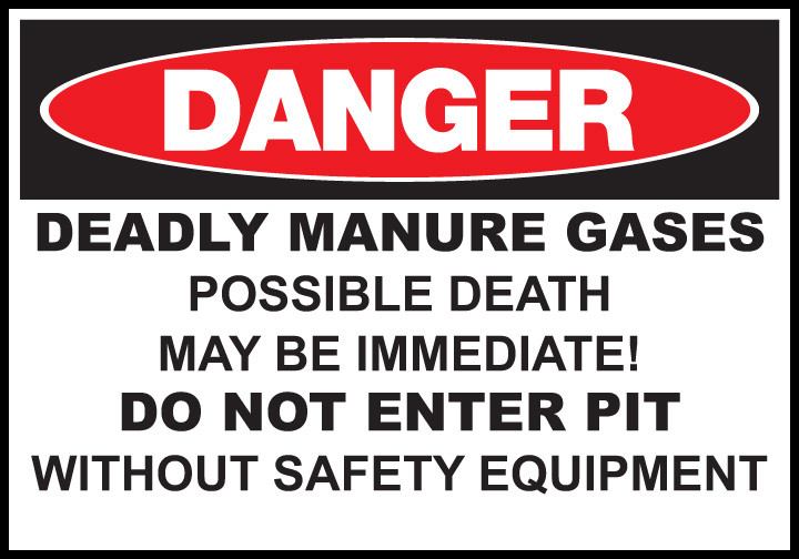 Image result for manure pit with caution sign