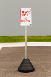"Zing ""Private Property"" Sign Kit Bundle, with Base and Post"