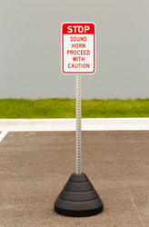 "Zing ""Stop, Sound Horn Proceed With Caution"" Sign Kit Bundle, with Base and Post"