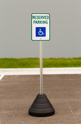 "Zing ""Handicapped Reserved Parking"" Sign Kit Bundle, with Base and Post"