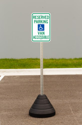"Zing ""Handicapped Reserved Parking, Van Accessible"" Sign Kit Bundle, with Base and Post"