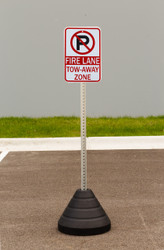"Zing ""No Parking, Fire Lane Tow-Away Zone"" Sign Kit Bundle, with Base and Post"