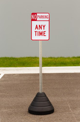 "Zing ""No Parking Any Time"" Sign Kit Bundle, with Base and Post"