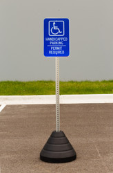 "Zing ""Handicapped Parking, Permit Required"" Sign Kit Bundle, with Base and Post"
