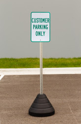 "Zing ""Customer Parking Only"" Sign Kit Bundle, with Base and Post"