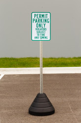 "Zing ""Permit Parking Only"" Sign Kit Bundle, with Base and Post"