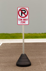 "Zing ""No Parking, Tow Away Zone"" Sign Kit Bundle, with Base and Post"