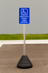 "Zing ""Handicapped Parking, Towing Enforced"" Sign Kit Bundle, with Base and Post"
