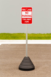"Zing ""Fire Lane, No Parking"" Sign Kit Bundle, with Base and Post"