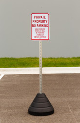 "Zing ""Private Property No Parking"" Sign Kit Bundle, with Base and Post"