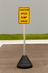 "Zing ""Caution Speed Bump Ahead"" Sign Kit Bundle, with Base and Post"