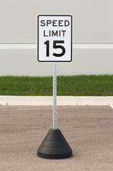 "Zing ""Speed Limit 15"" Sign Kit Bundle, with Base and Post"
