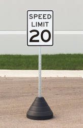"Zing ""Speed Limit 20"" Sign Kit Bundle, with Base and Post"