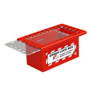 Group Lock Box, Red Steel, 26-Hole, Top Slide, Clear Lid
